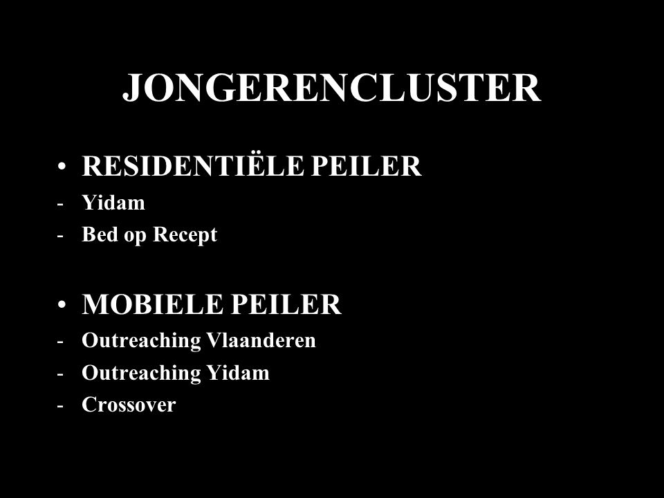 JONGERENCLUSTER •RESIDENTIËLE PEILER -Yidam -Bed op Recept •MOBIELE PEILER -Outreaching Vlaanderen -Outreaching Yidam -Crossover