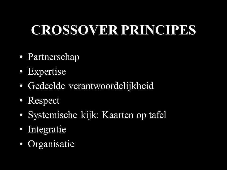 CROSSOVER PRINCIPES •Partnerschap •Expertise •Gedeelde verantwoordelijkheid •Respect •Systemische kijk: Kaarten op tafel •Integratie •Organisatie