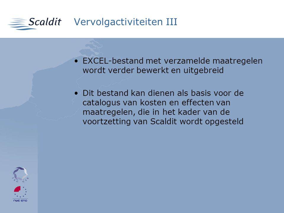 Vervolgactiviteiten III •EXCEL-bestand met verzamelde maatregelen wordt verder bewerkt en uitgebreid •Dit bestand kan dienen als basis voor de catalogus van kosten en effecten van maatregelen, die in het kader van de voortzetting van Scaldit wordt opgesteld