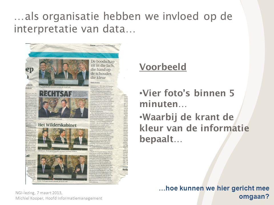 NGI-lezing, 7 maart 2013, Michiel Kooper, Hoofd Informatiemanagement …als organisatie hebben we invloed op de interpretatie van data… Voorbeeld • Vier