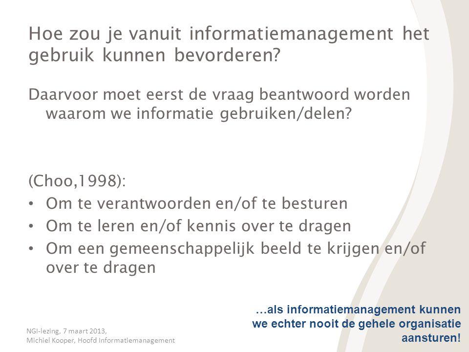 NGI-lezing, 7 maart 2013, Michiel Kooper, Hoofd Informatiemanagement Hoe zou je vanuit informatiemanagement het gebruik kunnen bevorderen? Daarvoor mo