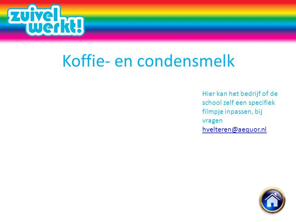 Koffie- en condensmelk Hier kan het bedrijf of de school zelf een specifiek filmpje inpassen, bij vragen hvelteren@aequor.nl hvelteren@aequor.nl
