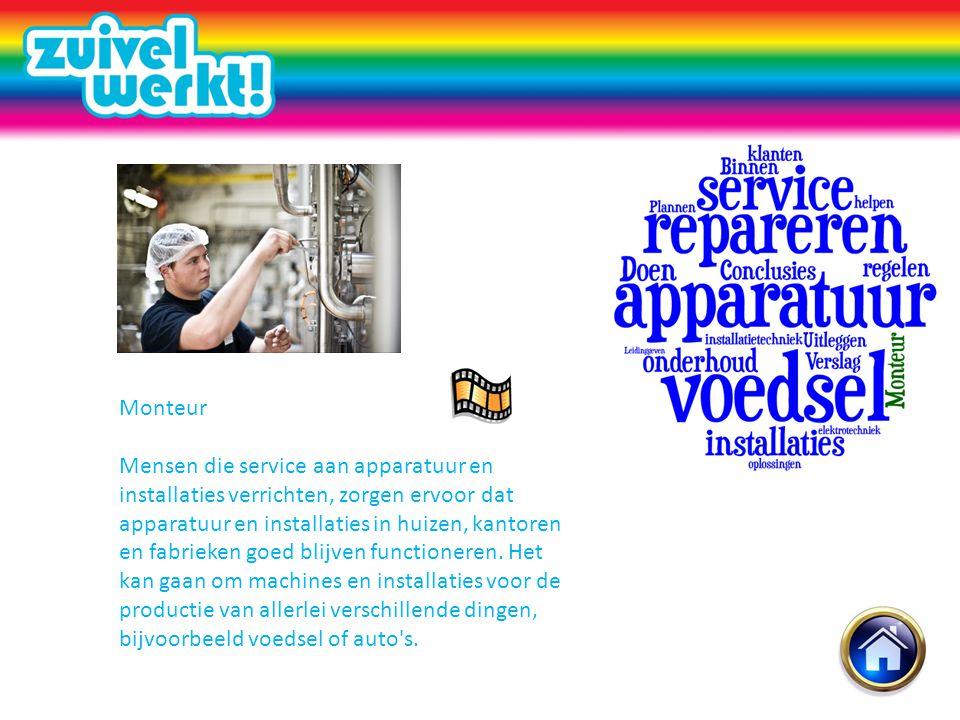 Monteur Mensen die service aan apparatuur en installaties verrichten, zorgen ervoor dat apparatuur en installaties in huizen, kantoren en fabrieken go
