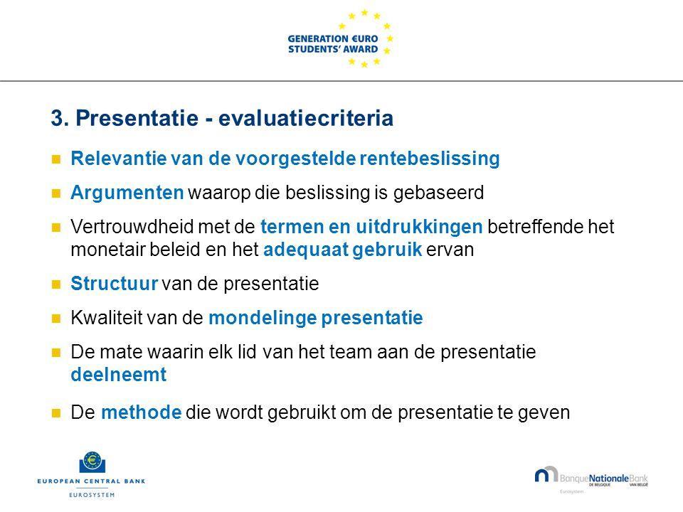 3. Presentatie - evaluatiecriteria  Relevantie van de voorgestelde rentebeslissing  Argumenten waarop die beslissing is gebaseerd  Vertrouwdheid me