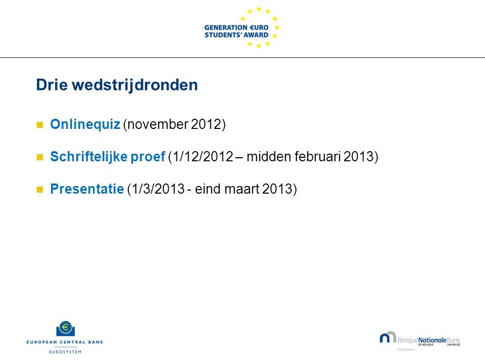 Drie wedstrijdronden  Onlinequiz (november 2012)  Schriftelijke proef (1/12/2012 – midden februari 2013)  Presentatie (1/3/2013 - eind maart 2013)
