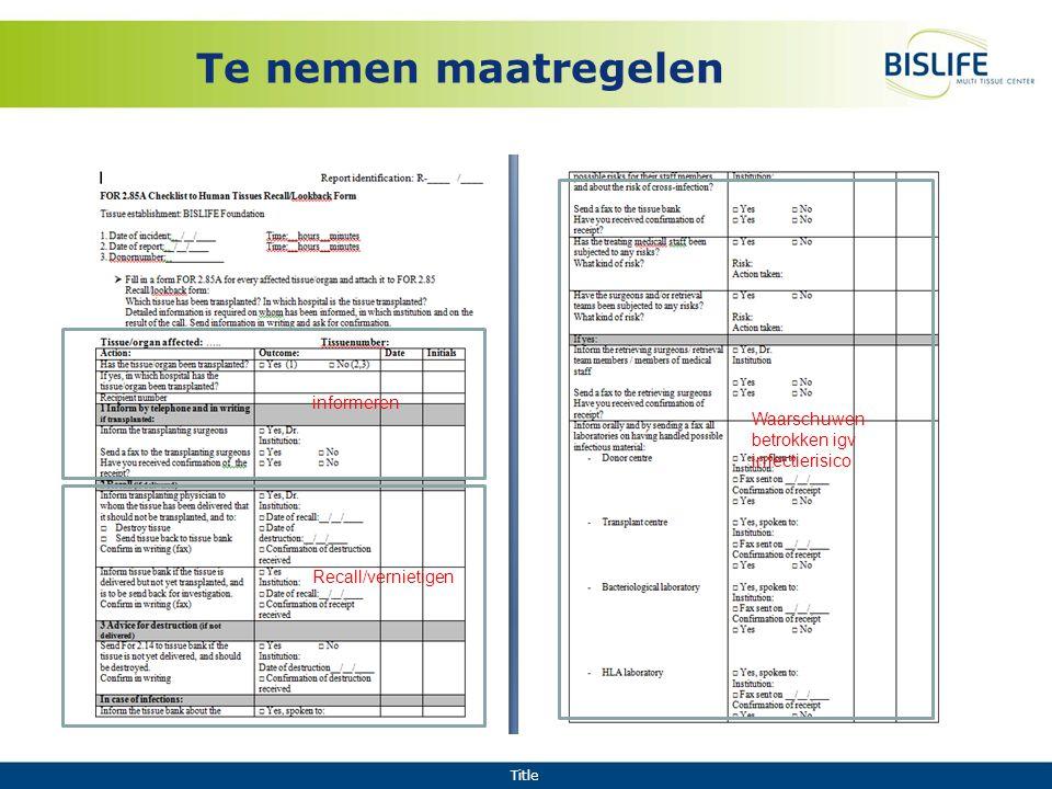 Title Te nemen maatregelen informeren Recall/vernietigen Waarschuwen betrokken igv infectierisico