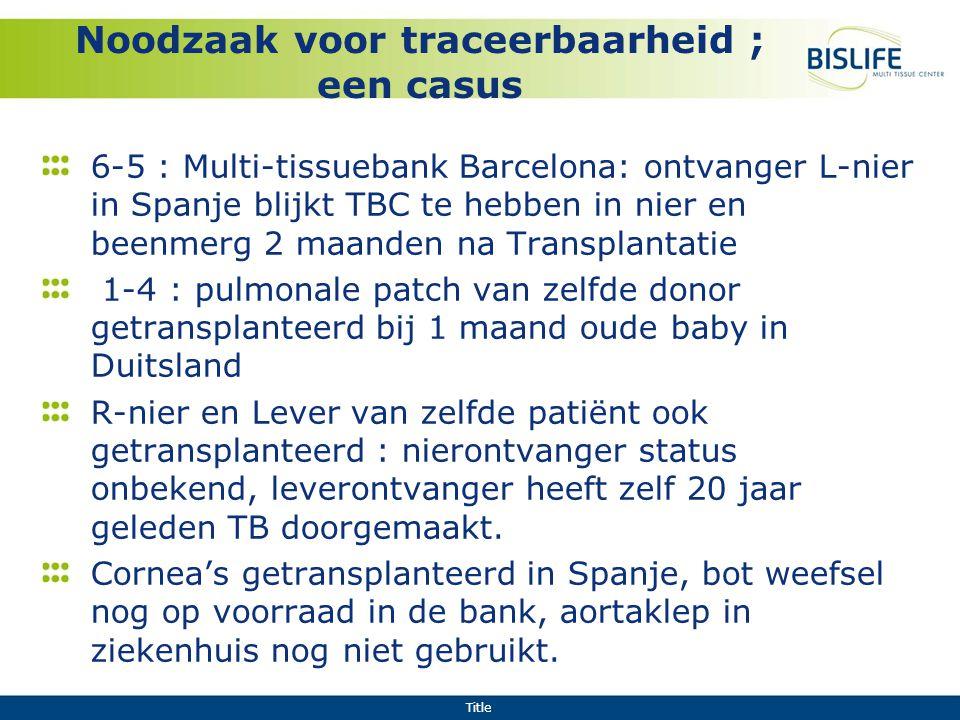 Title Noodzaak voor traceerbaarheid ; een casus 6-5 : Multi-tissuebank Barcelona: ontvanger L-nier in Spanje blijkt TBC te hebben in nier en beenmerg
