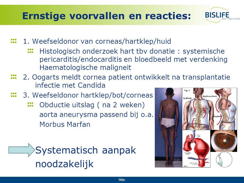 Title Ernstige voorvallen en reacties: 1. Weefseldonor van corneas/hartklep/huid Histologisch onderzoek hart tbv donatie : systemische pericarditis/en