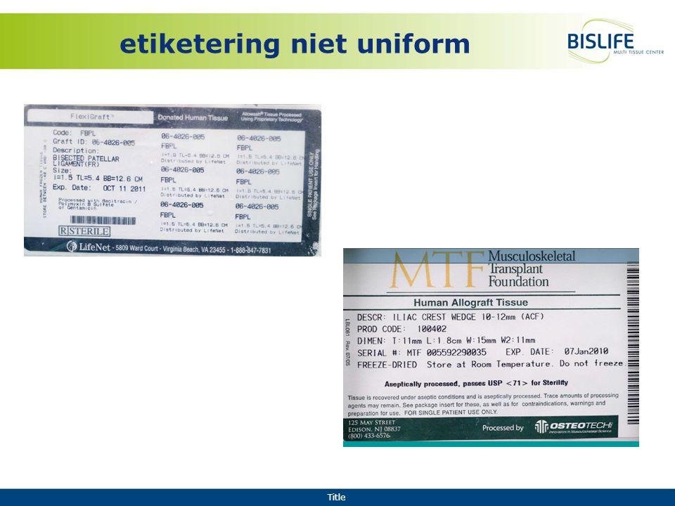 Title etiketering niet uniform