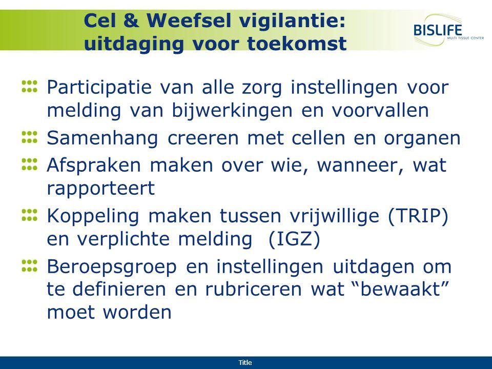 Title Cel & Weefsel vigilantie: uitdaging voor toekomst Participatie van alle zorg instellingen voor melding van bijwerkingen en voorvallen Samenhang