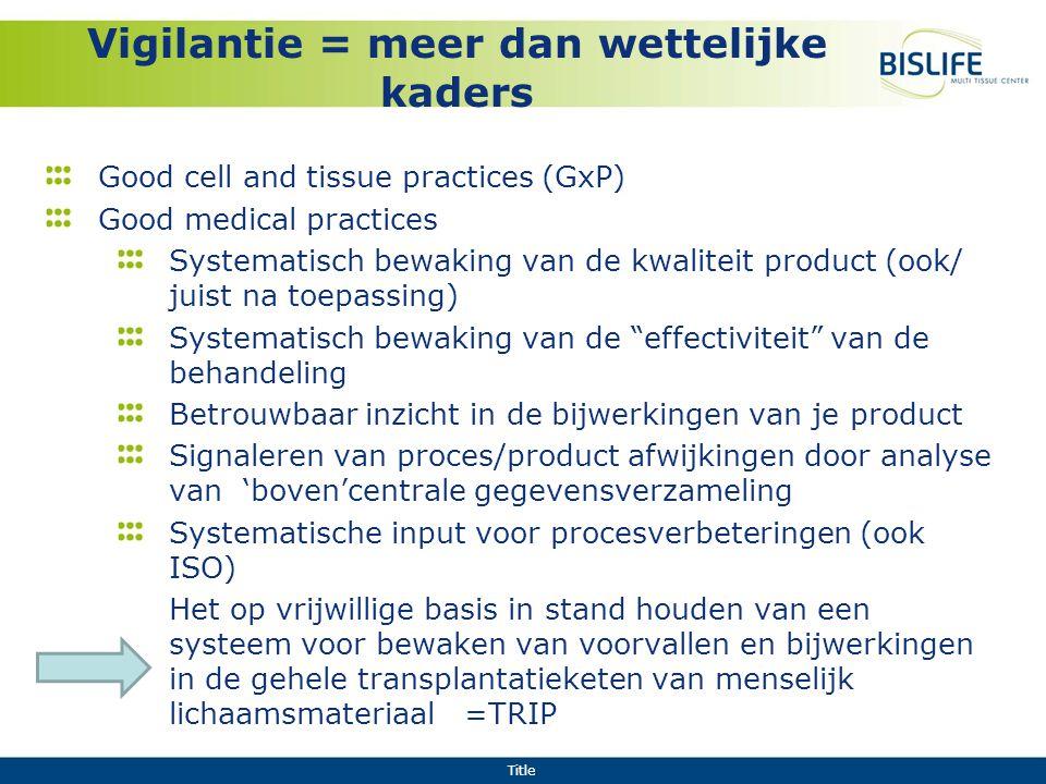 Title Vigilantie = meer dan wettelijke kaders Good cell and tissue practices (GxP) Good medical practices Systematisch bewaking van de kwaliteit produ