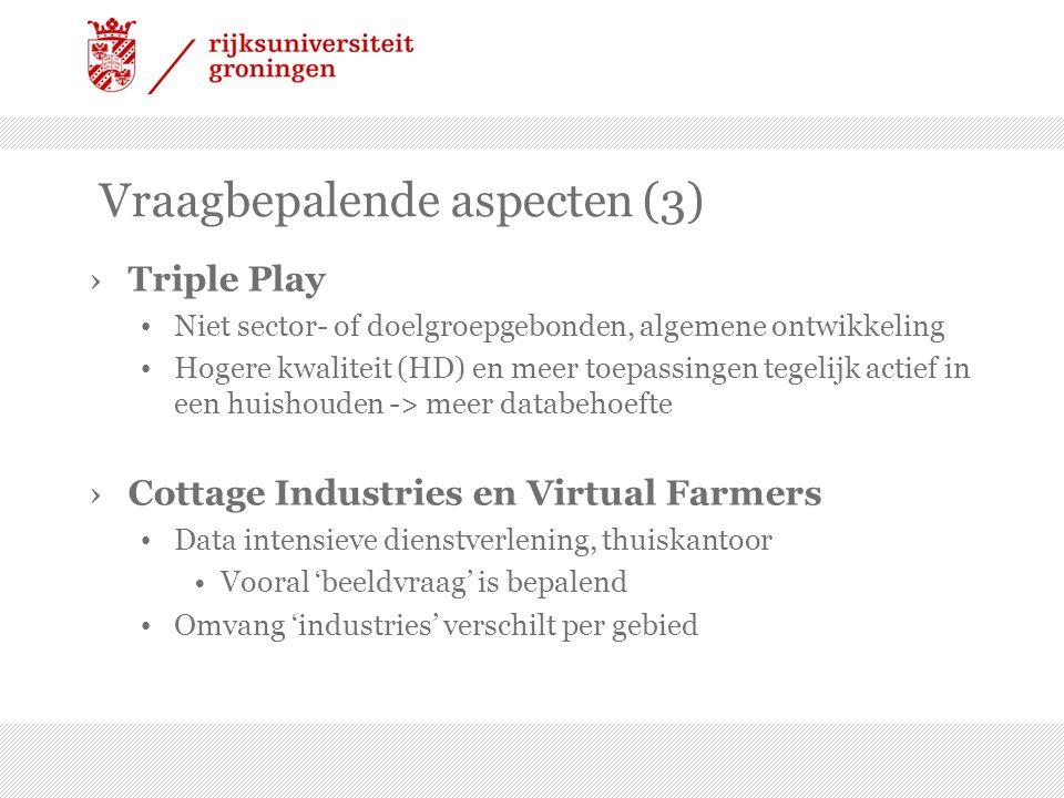 Vraagbepalende aspecten (3) ›Triple Play • Niet sector- of doelgroepgebonden, algemene ontwikkeling • Hogere kwaliteit (HD) en meer toepassingen tegel