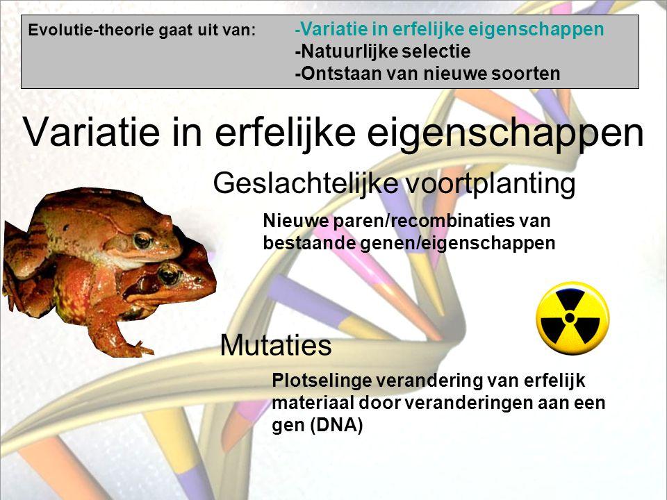 Evolutie-theorie - feiten die argumenten vormen vóór de theorie - gaat uit van: 1) Variatie in erfelijke eigenschappen (genotypen) 2) Natuurlijke sele