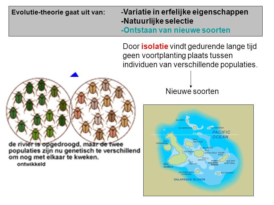 Natuurlijke selectie Individuen die het beste aangepast zijn aan het milieu hebben grootste overlevingskans. Organismen produceren teveel nakomelingen