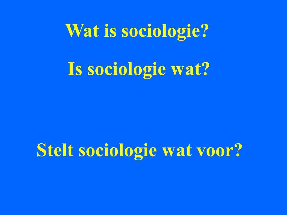 Sociologie gaat over Samenlevingen In het bijzonder over * De ongelijkheden tussen hun inwoners * De cohesie die ze vertonen