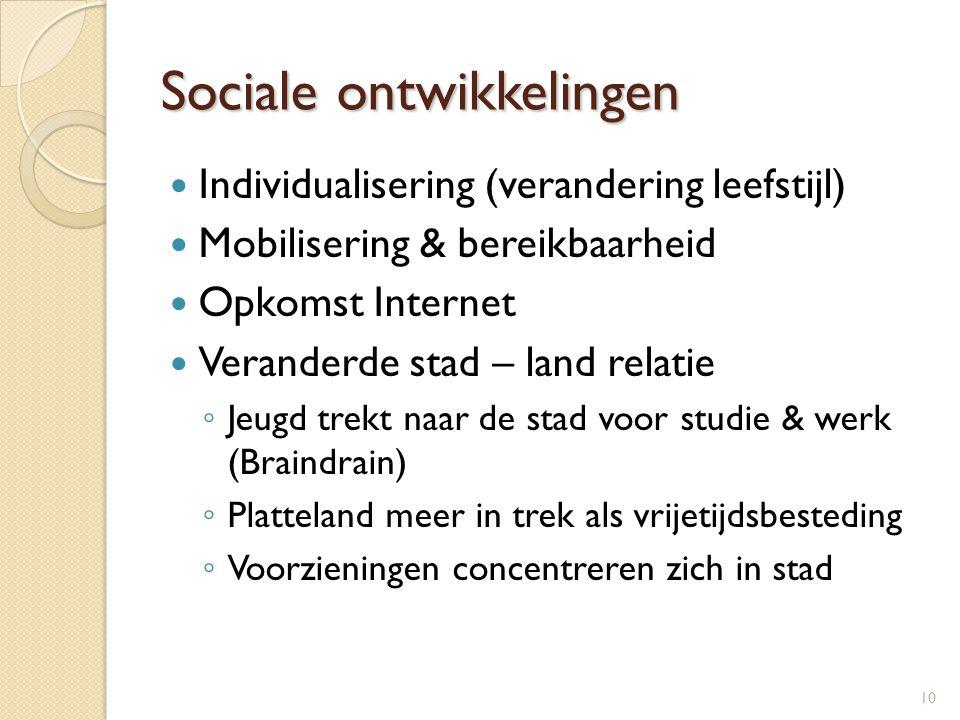 Sociale ontwikkelingen  Individualisering (verandering leefstijl)  Mobilisering & bereikbaarheid  Opkomst Internet  Veranderde stad – land relatie