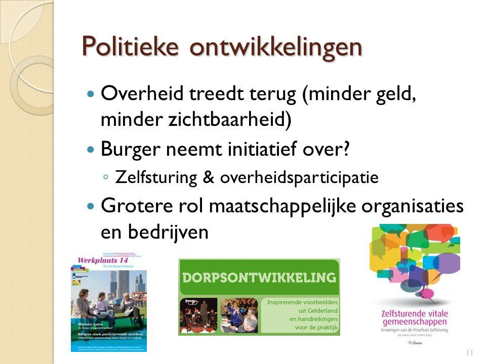 Politieke ontwikkelingen  Overheid treedt terug (minder geld, minder zichtbaarheid)  Burger neemt initiatief over? ◦ Zelfsturing & overheidsparticip