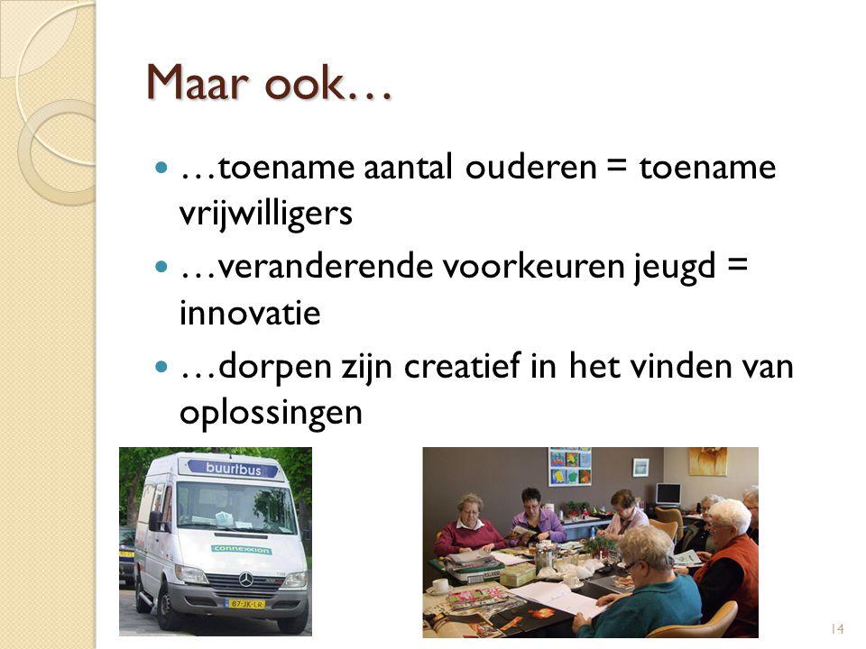 Maar ook…  …toename aantal ouderen = toename vrijwilligers  …veranderende voorkeuren jeugd = innovatie  …dorpen zijn creatief in het vinden van opl