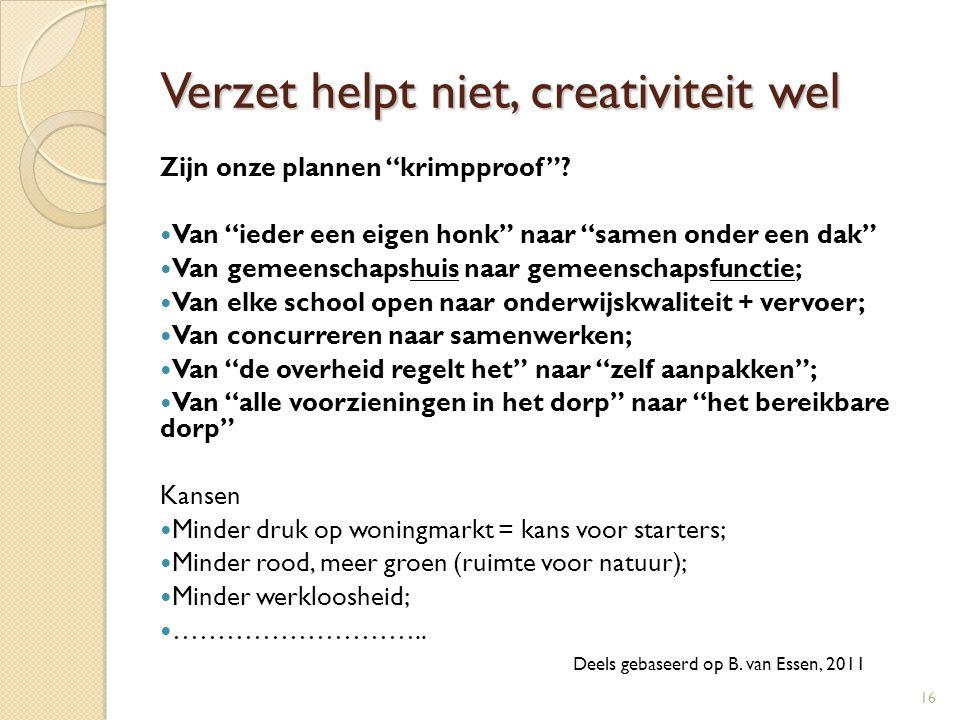 """Verzet helpt niet, creativiteit wel Zijn onze plannen """"krimpproof""""?  Van """"ieder een eigen honk"""" naar """"samen onder een dak""""  Van gemeenschapshuis naa"""