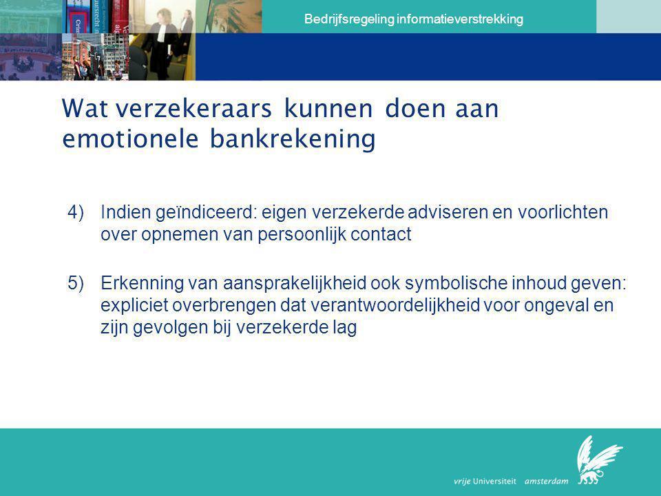 Bedrijfsregeling informatieverstrekking Wat verzekeraars kunnen doen aan emotionele bankrekening 4)Indien geïndiceerd: eigen verzekerde adviseren en v