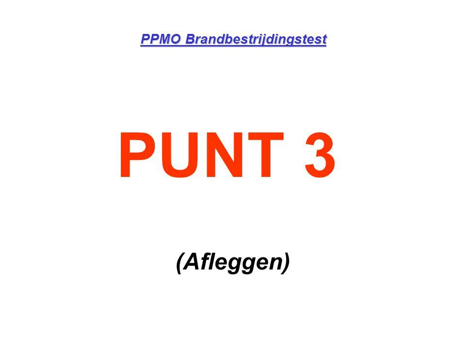 PPMO Brandbestrijdingstest Einde test •Hartslagfrequentie wordt opgenomen •Tijd wordt stopgezet •Afkoppelen ademlucht •Herstellen in wandeltempo zonder te spreken