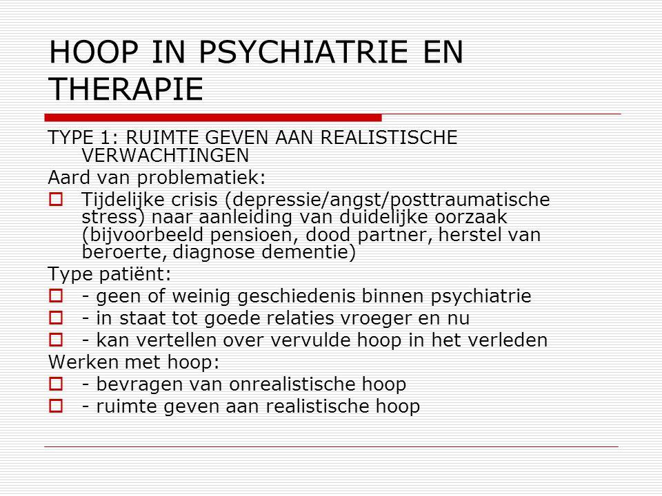 TYPE 1: RUIMTE GEVEN AAN REALISTISCHE VERWACHTINGEN Aard van problematiek:  Tijdelijke crisis (depressie/angst/posttraumatische stress) naar aanleidi