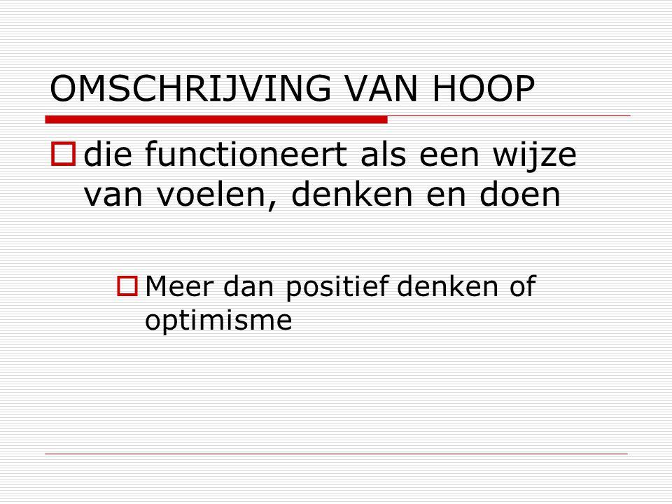 OMSCHRIJVING VAN HOOP  die functioneert als een wijze van voelen, denken en doen  Meer dan positief denken of optimisme