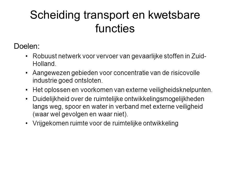 Scheiding transport en kwetsbare functies Doelen: •Robuust netwerk voor vervoer van gevaarlijke stoffen in Zuid- Holland. •Aangewezen gebieden voor co