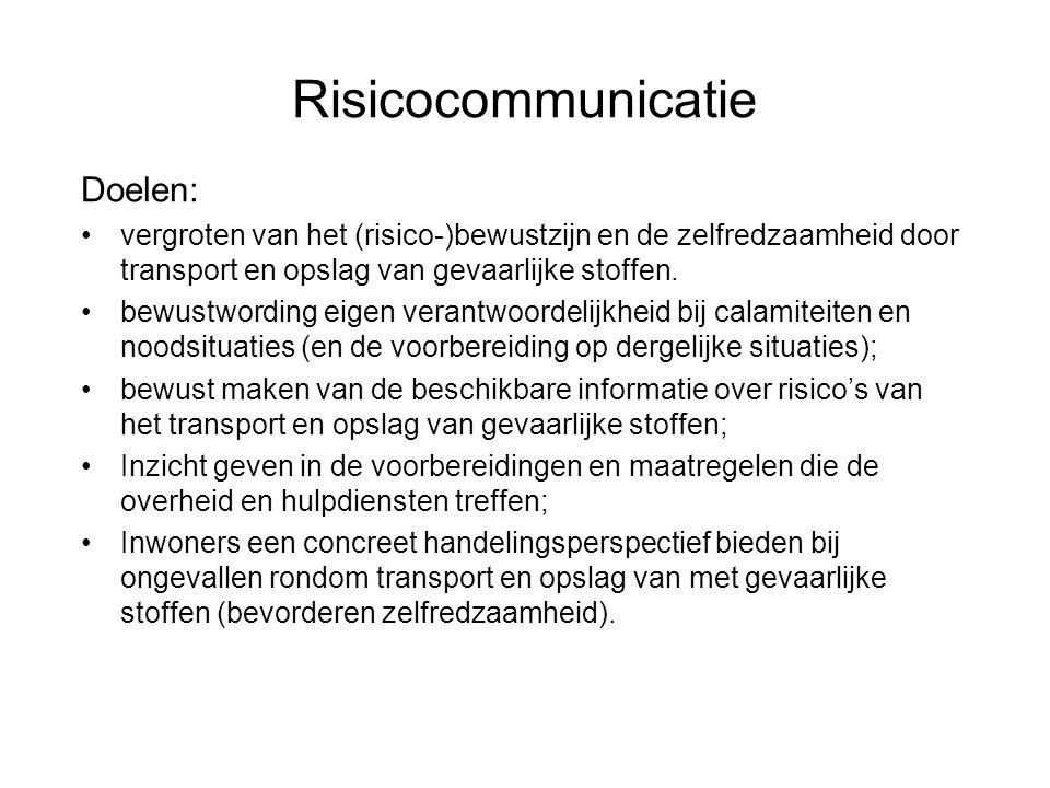 Risicocommunicatie Doelen: •vergroten van het (risico-)bewustzijn en de zelfredzaamheid door transport en opslag van gevaarlijke stoffen. •bewustwordi