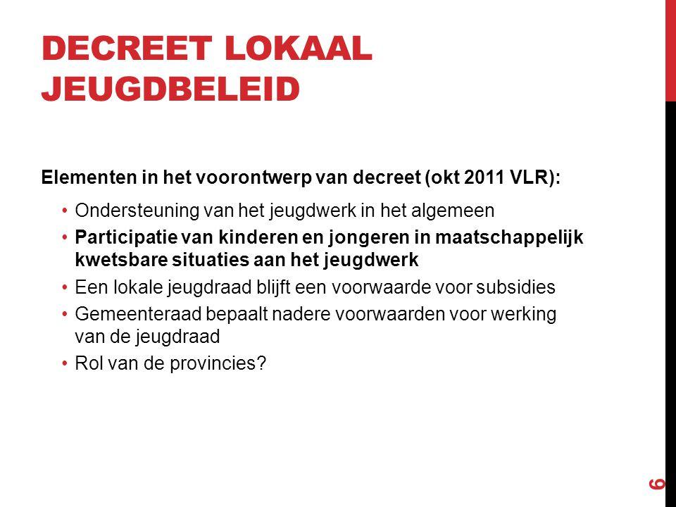 DECREET LOKAAL JEUGDBELEID Elementen in het voorontwerp van decreet (okt 2011 VLR): •Ondersteuning van het jeugdwerk in het algemeen •Participatie van