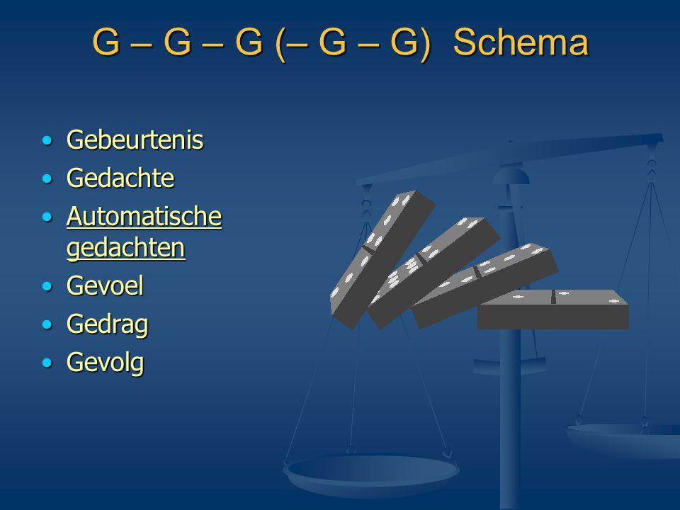 G – G – G (– G – G) Schema •Gebeurtenis •Gedachte •Automatische gedachten •Gevoel •Gedrag •Gevolg