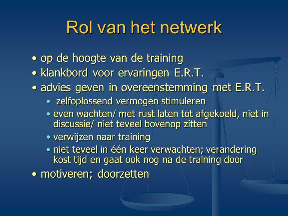 Rol van het netwerk •op de hoogte van de training •klankbord voor ervaringen E.R.T. •advies geven in overeenstemming met E.R.T. • zelfoplossend vermog