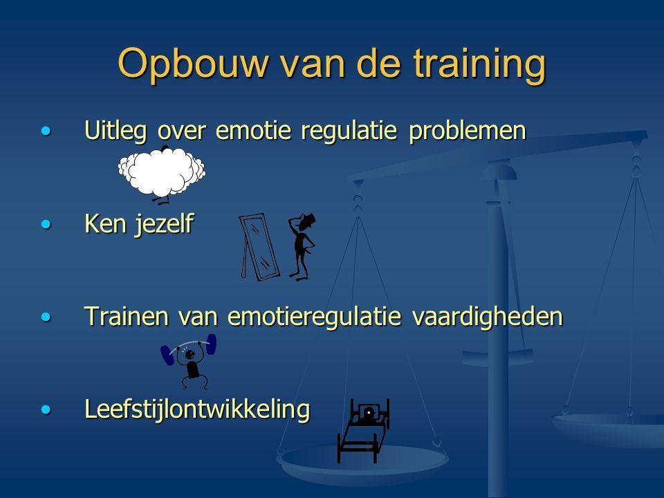 Opbouw van de training •Uitleg over emotie regulatie problemen •Ken jezelf •Trainen van emotieregulatie vaardigheden •Leefstijlontwikkeling