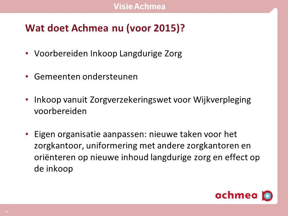 Wat doet Achmea nu (voor 2015)? • Voorbereiden Inkoop Langdurige Zorg • Gemeenten ondersteunen • Inkoop vanuit Zorgverzekeringswet voor Wijkverpleging