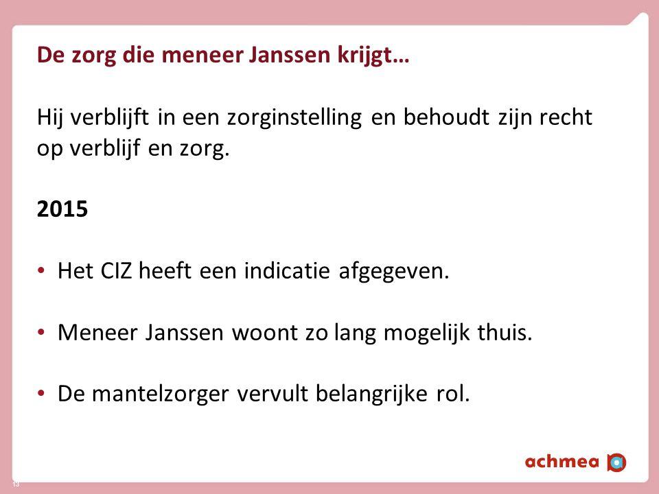 De zorg die meneer Janssen krijgt… Hij verblijft in een zorginstelling en behoudt zijn recht op verblijf en zorg. 2015 • Het CIZ heeft een indicatie a