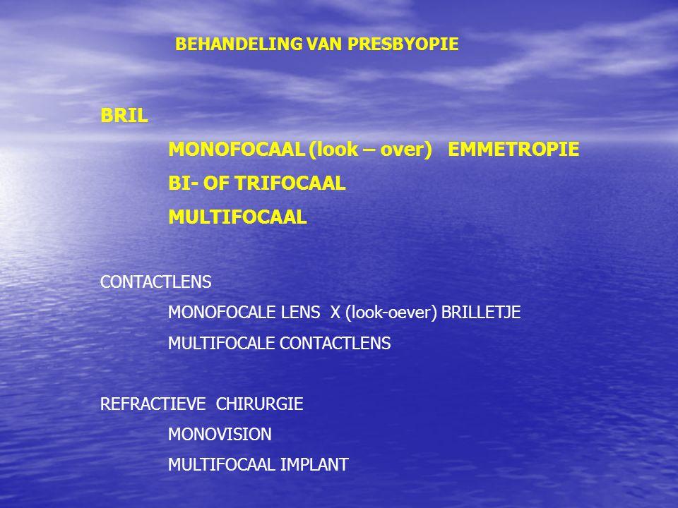 BEHANDELING VAN PRESBYOPIE BRIL MONOFOCAAL (look – over) EMMETROPIE BI- OF TRIFOCAAL MULTIFOCAAL CONTACTLENS MONOFOCALE LENS X (look-oever) BRILLETJE MULTIFOCALE CONTACTLENS REFRACTIEVE CHIRURGIE MONOVISION MULTIFOCAAL IMPLANT