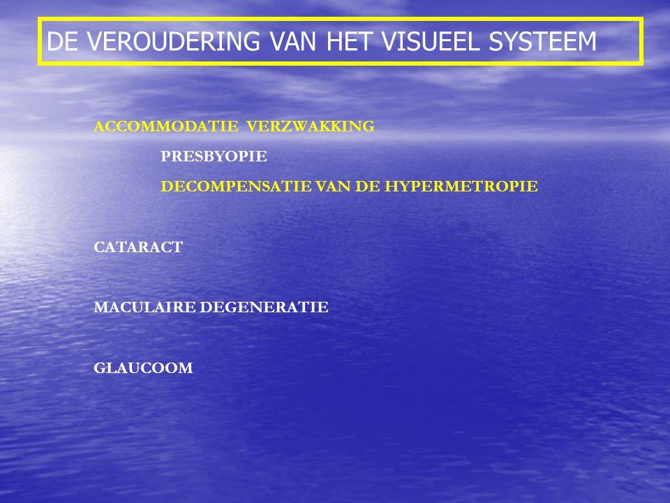 DE VEROUDERING VAN HET VISUEEL SYSTEEM ACCOMMODATIE VERZWAKKING PRESBYOPIE DECOMPENSATIE VAN DE HYPERMETROPIE CATARACT MACULAIRE DEGENERATIE GLAUCOOM