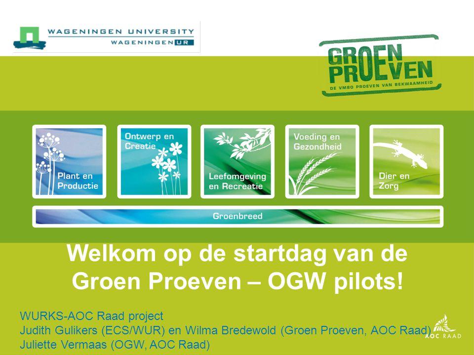 Welkom op de startdag van de Groen Proeven – OGW pilots.