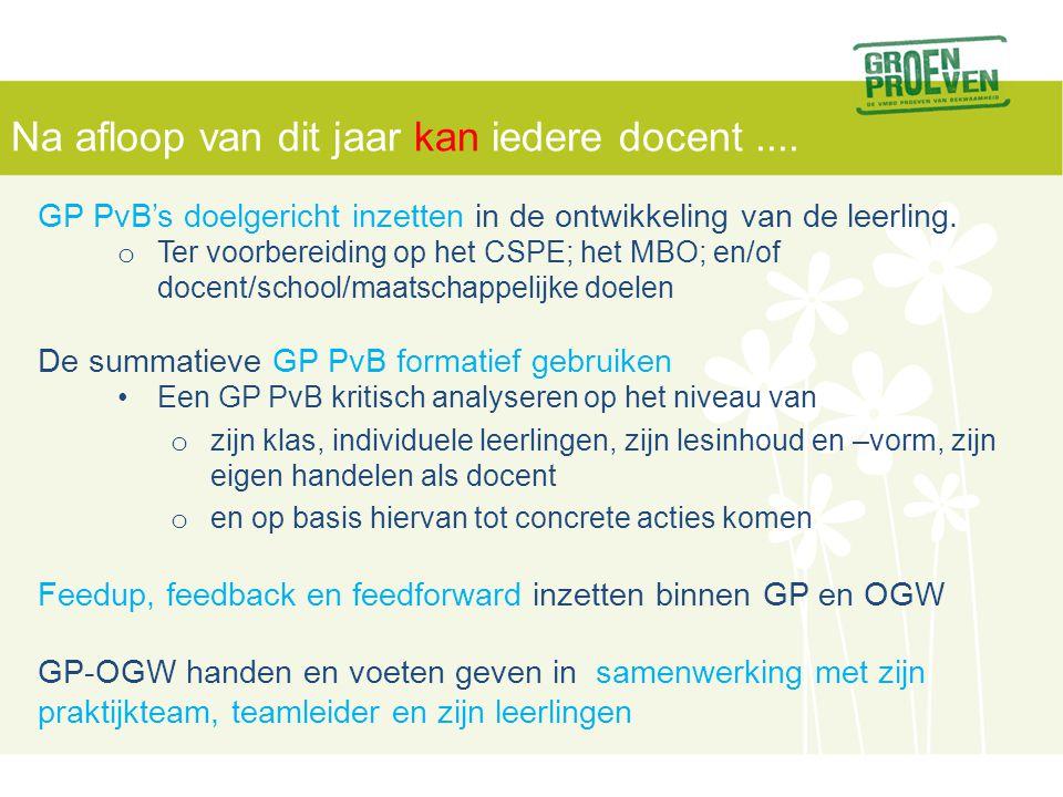 1. analyse PvB('s) 2. diagnose •klas •leerling •docent / onderwijs 3. doelen (irt CSPE/MBO) + concrete acties 4. uitvoeren, monitoren en testen GP - O