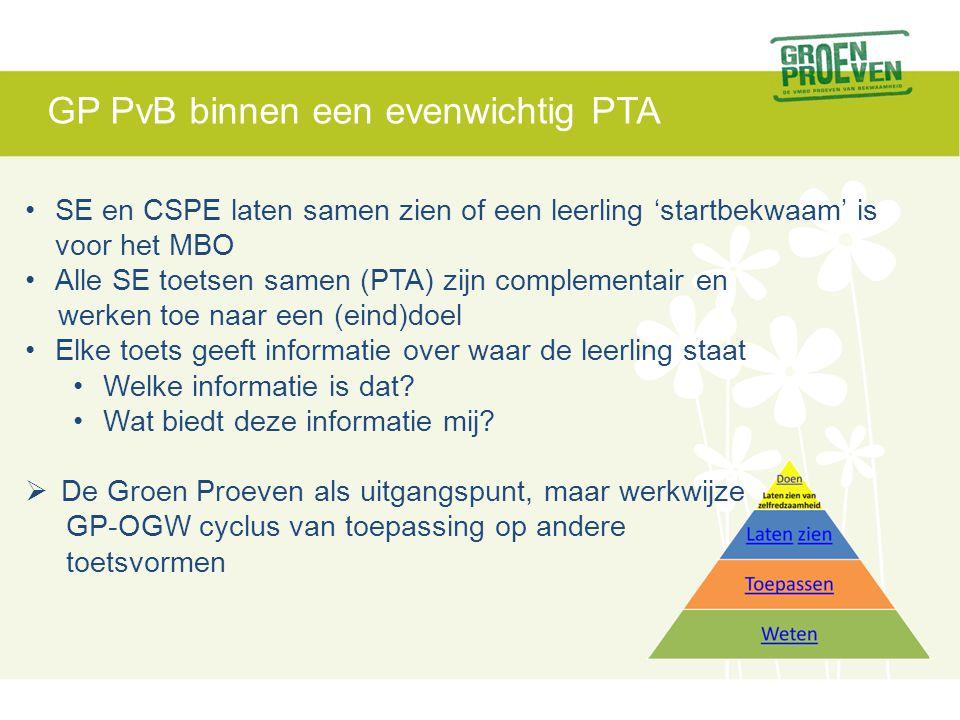 GP PvB binnen een evenwichtig PTA •SE en CSPE laten samen zien of een leerling 'startbekwaam' is voor het MBO •Alle SE toetsen samen (PTA) zijn complementair en werken toe naar een (eind)doel •Elke toets geeft informatie over waar de leerling staat •Welke informatie is dat.
