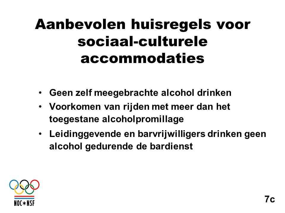 Aanbevolen huisregels voor sociaal-culturele accommodaties •Geen zelf meegebrachte alcohol drinken •Voorkomen van rijden met meer dan het toegestane a