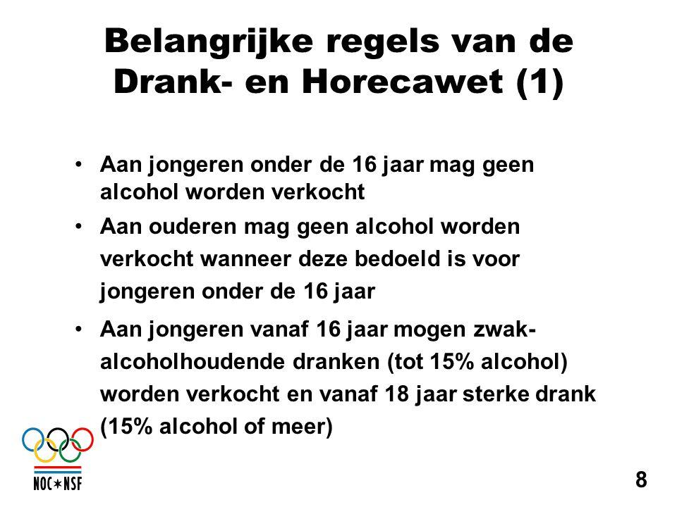 Belangrijke regels van de Drank- en Horecawet (1) •Aan jongeren onder de 16 jaar mag geen alcohol worden verkocht •Aan ouderen mag geen alcohol worden