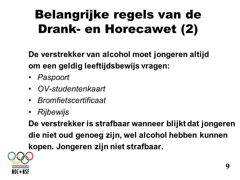Belangrijke regels van de Drank- en Horecawet (2) De verstrekker van alcohol moet jongeren altijd om een geldig leeftijdsbewijs vragen: •Paspoort •OV-