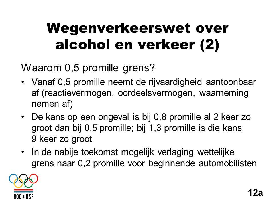 Wegenverkeerswet over alcohol en verkeer (2) Waarom 0,5 promille grens? •Vanaf 0,5 promille neemt de rijvaardigheid aantoonbaar af (reactievermogen, o