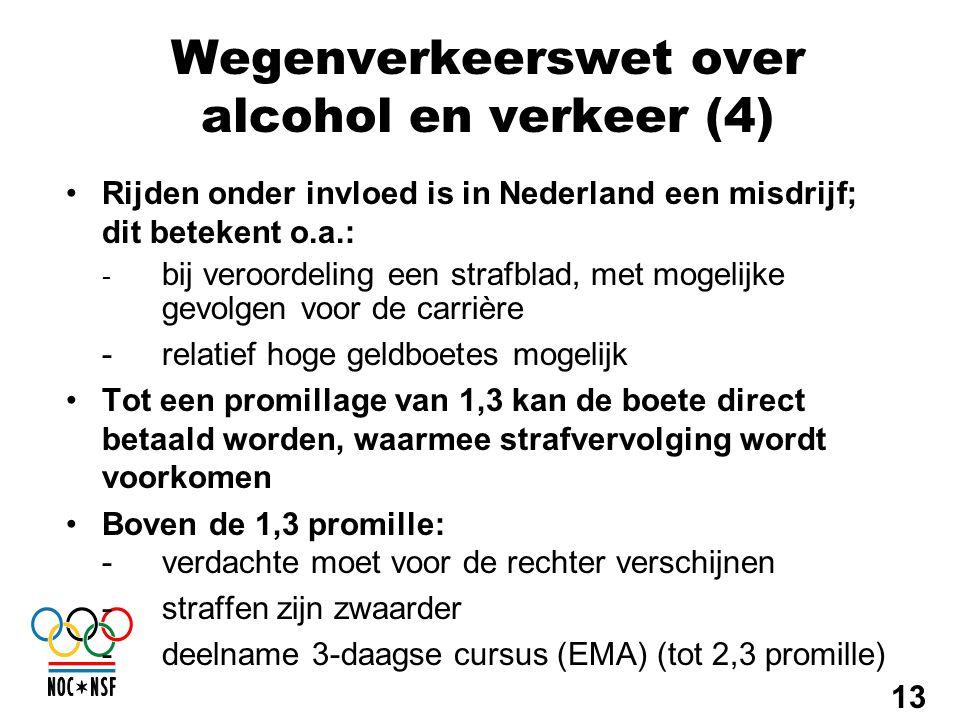Wegenverkeerswet over alcohol en verkeer (4) •Rijden onder invloed is in Nederland een misdrijf; dit betekent o.a.: - bij veroordeling een strafblad,