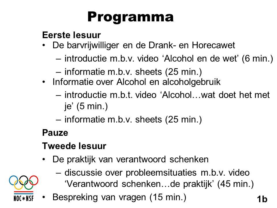 Programma Eerste lesuur •De barvrijwilliger en de Drank- en Horecawet –introductie m.b.v. video 'Alcohol en de wet' (6 min.) –informatie m.b.v. sheets