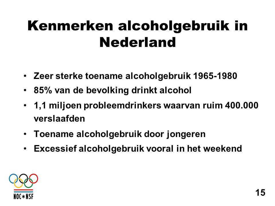 Kenmerken alcoholgebruik in Nederland •Zeer sterke toename alcoholgebruik 1965-1980 •85% van de bevolking drinkt alcohol •1,1 miljoen probleemdrinkers