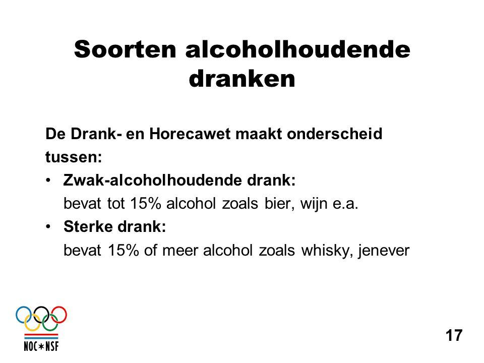 Soorten alcoholhoudende dranken De Drank- en Horecawet maakt onderscheid tussen: •Zwak-alcoholhoudende drank: bevat tot 15% alcohol zoals bier, wijn e