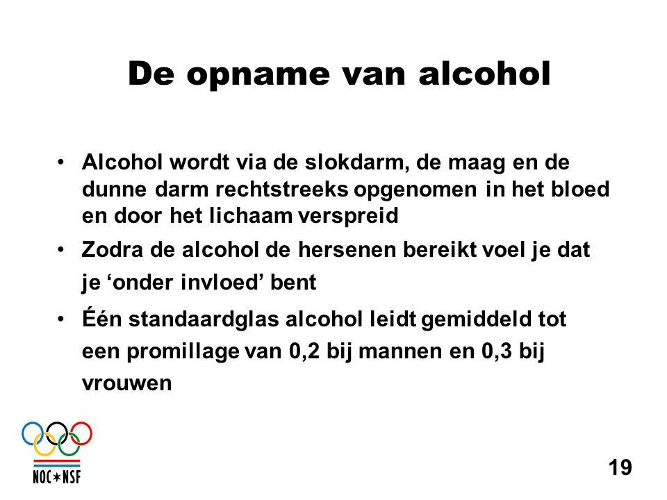De opname van alcohol •Alcohol wordt via de slokdarm, de maag en de dunne darm rechtstreeks opgenomen in het bloed en door het lichaam verspreid •Zodr