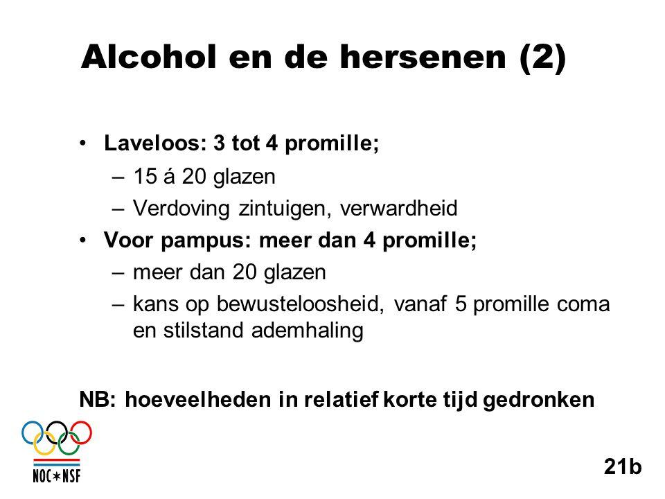 Alcohol en de hersenen (2) •Laveloos: 3 tot 4 promille; –15 á 20 glazen –Verdoving zintuigen, verwardheid •Voor pampus: meer dan 4 promille; –meer dan